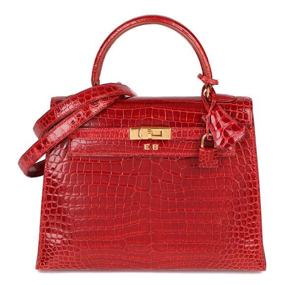 Hermès Rouge Vif Shiny Porosus Crocodile Leather Vintage Kelly 25cm Sellier