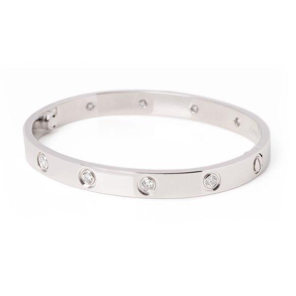 Cartier 18ct white gold 10 diamond bangle
