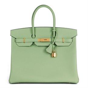 Hermès Vert Criquet Epsom Leather Birkin 35cm Retourne