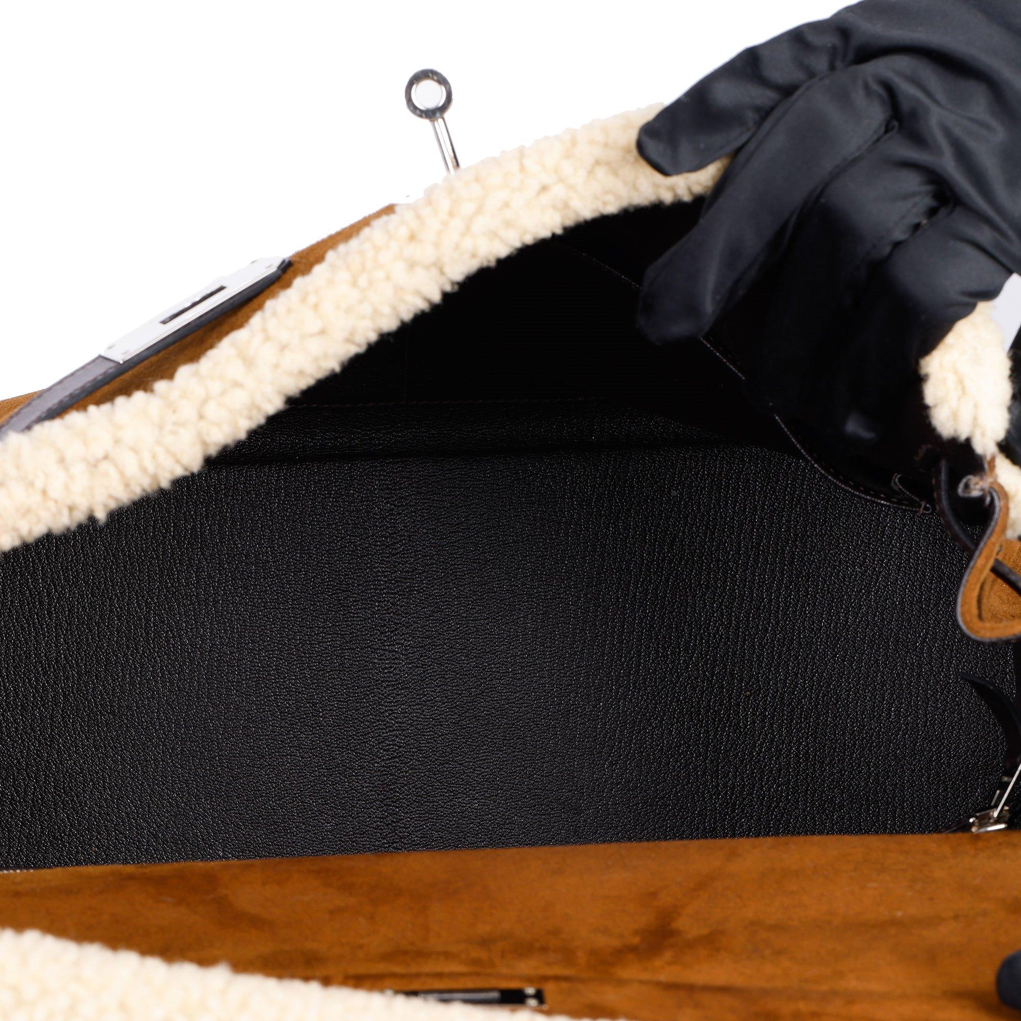 Hermès Ebene Barenia & Shearling Teddy Kelly 35cm Retourne