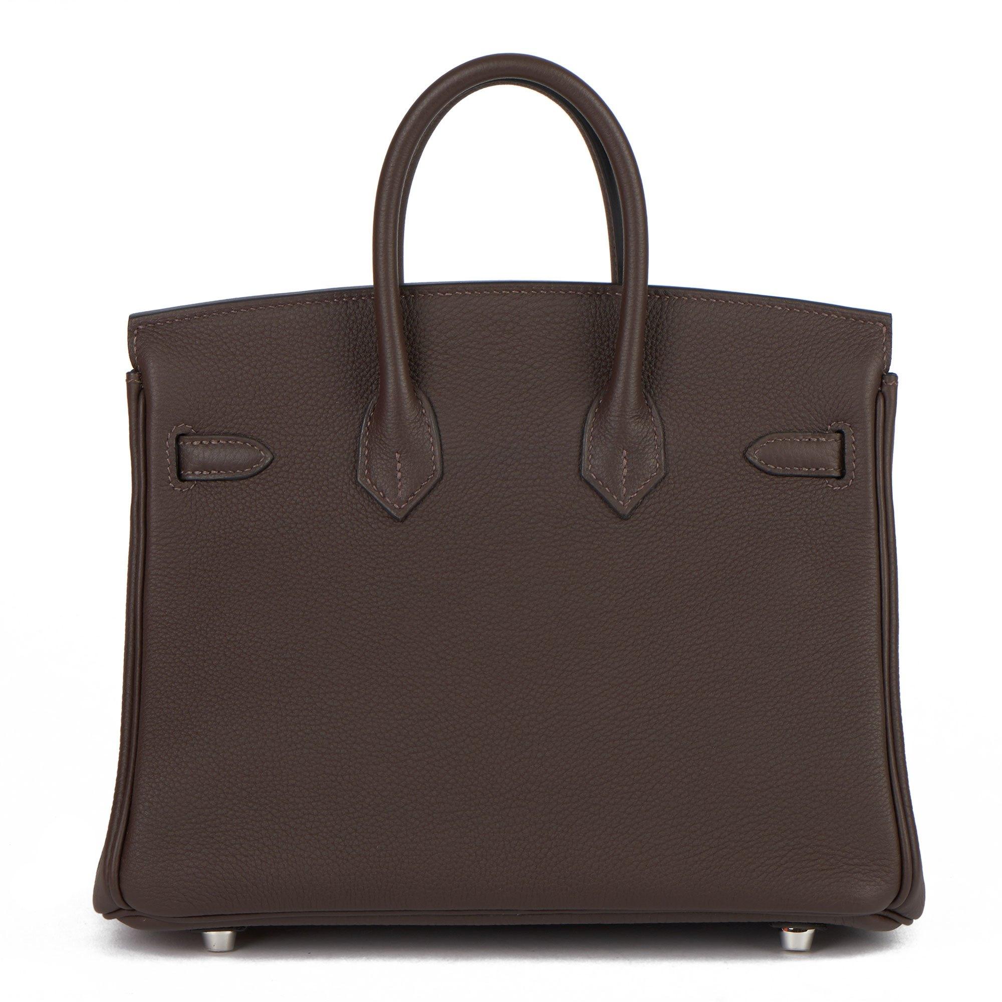 Hermès Ebene & Gold Togo Leather Verso Birkin 25cm Retourne