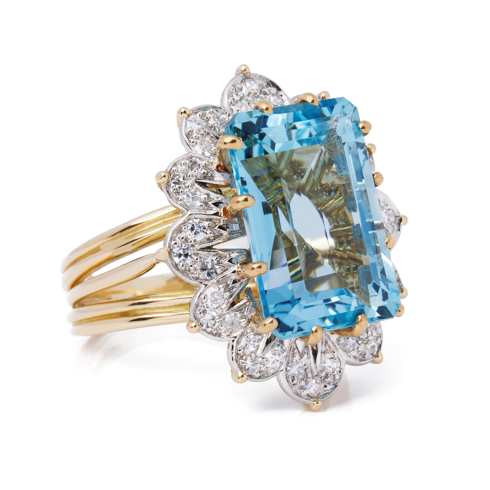 Cartier Monture Vintage Aquamarine & Diamond Ring