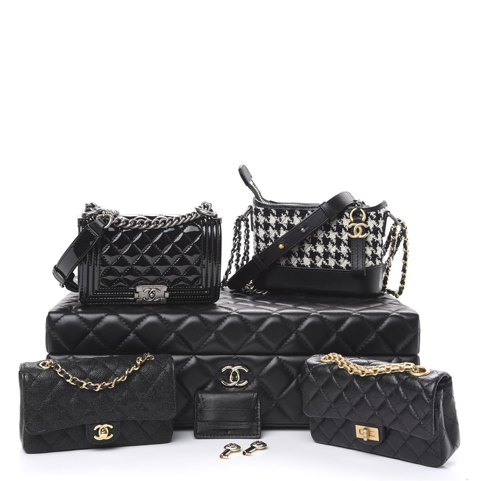 Chanel Black Quilted Lambskin, Calfskin Leather, Patent Leather & Tweed Success Story Mini Bag Set of Four