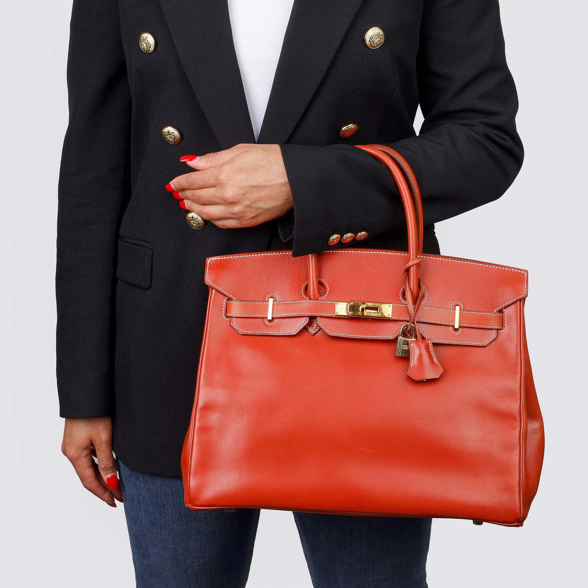 Hermès Brique Box Calf Leather Vintage Birkin 35cm Retourne