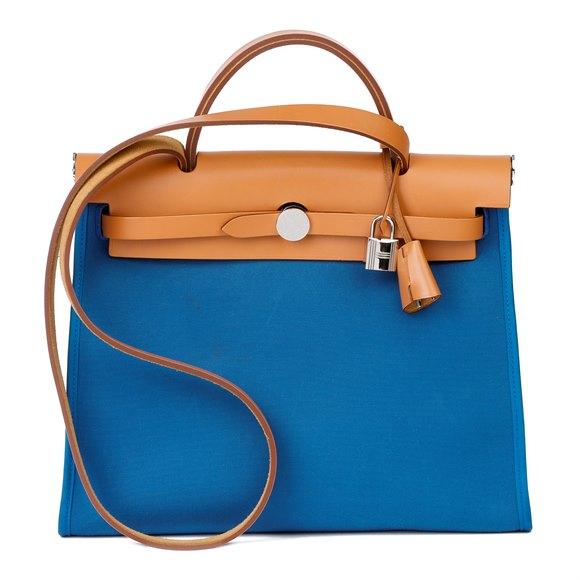 Hermès Natural Vache Hunter Cowhide Leather & Blue Ocean Canvas Herbag Zip 31