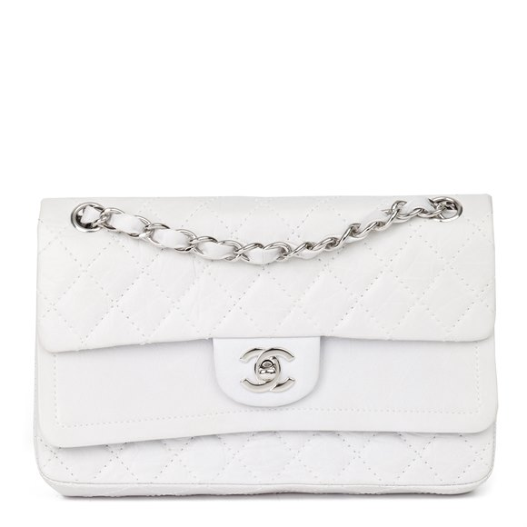 Chanel Pale Grey Aged Quilted Calfskin Leather Medium Classic Double Flap Bag