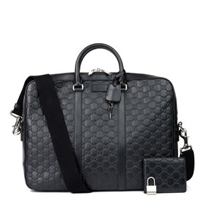 Gucci Black GG Embossed Guccissima Calfskin Leather Briefcase