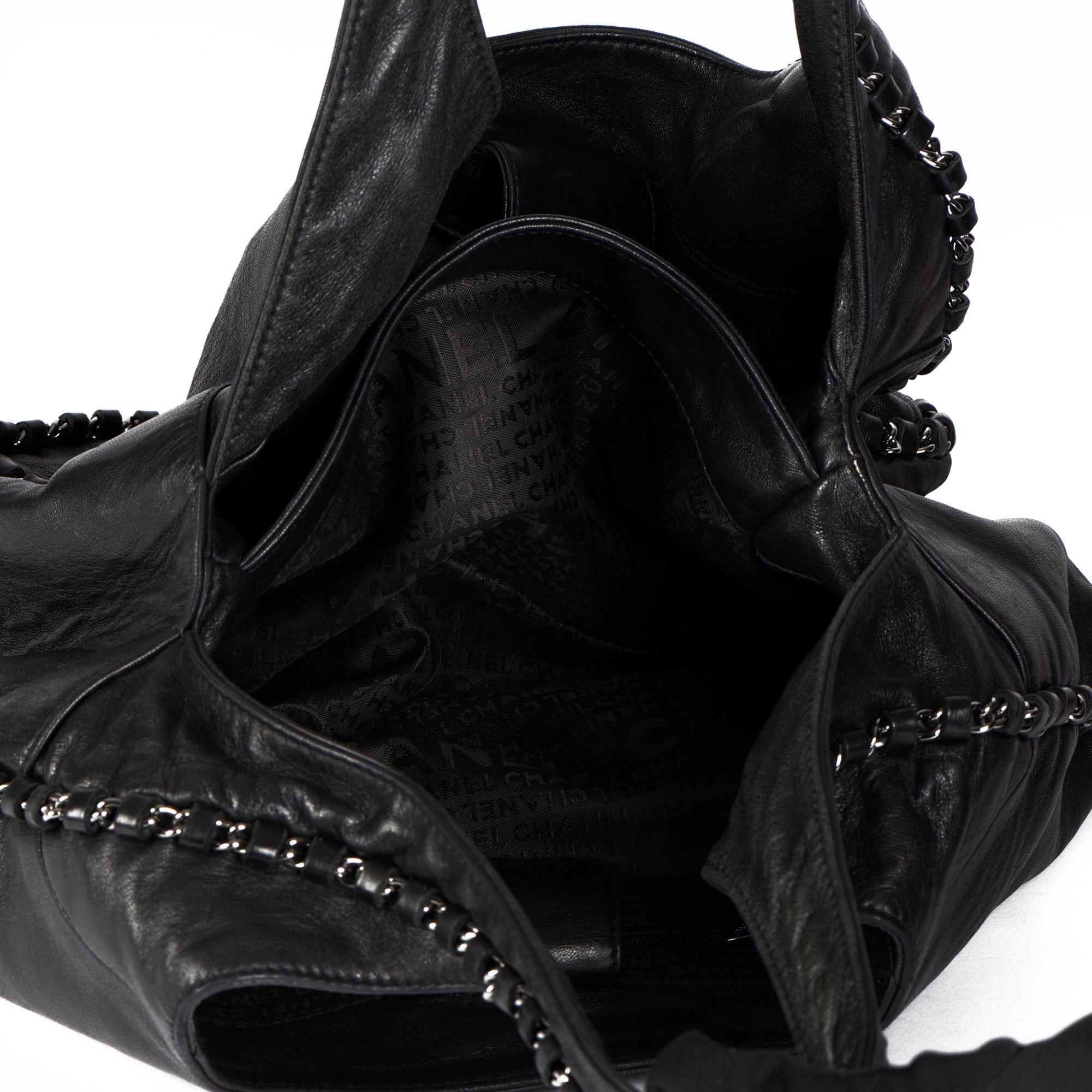 Chanel Black Goatskin Chain Around Hobo Bag