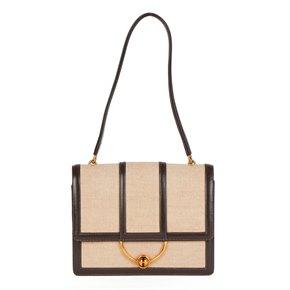Hermès Brown Box Calf Leather & Beige Canvas Vintage Ring Flap Bag
