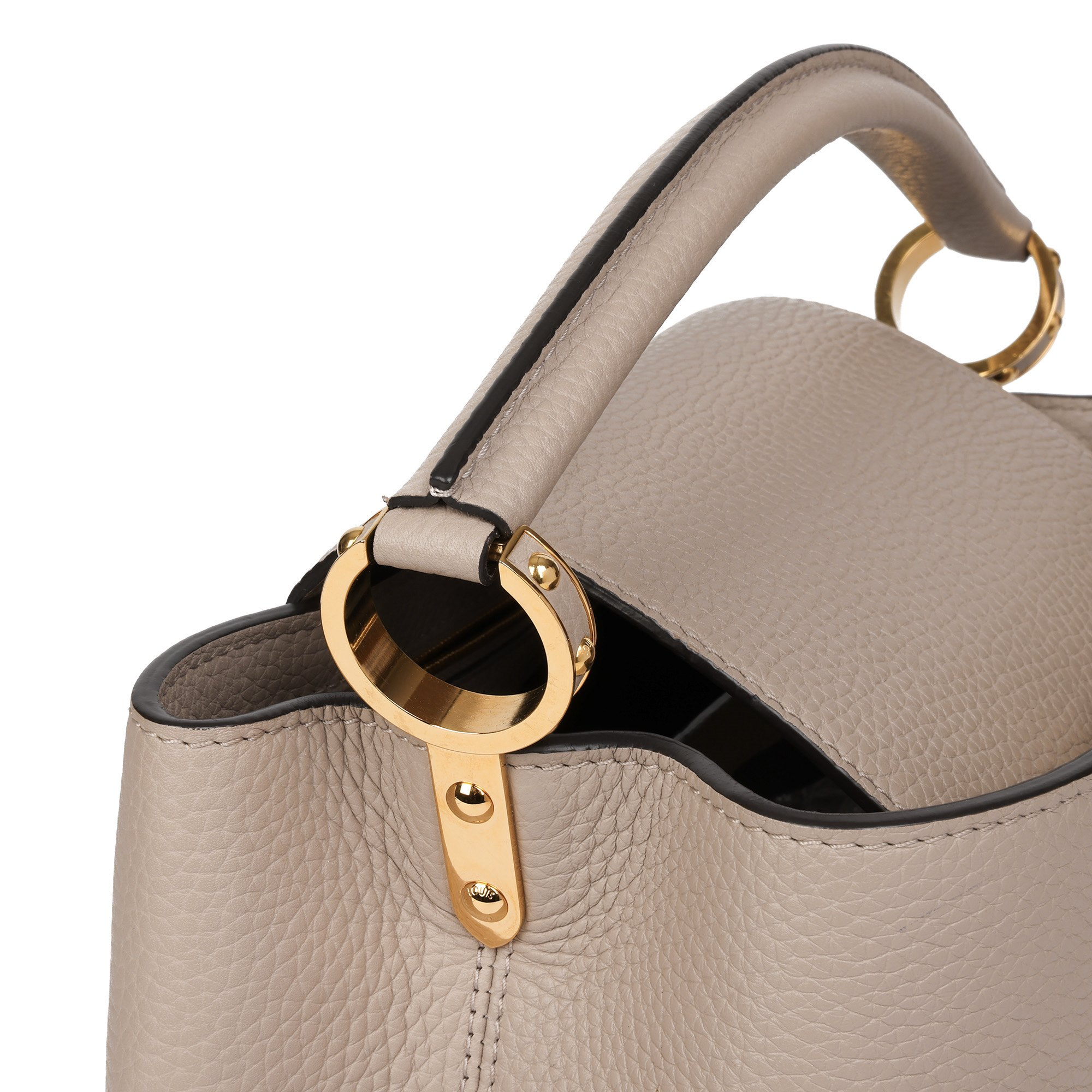 Louis Vuitton Galet Grey Taurillon Leather Capucines MM