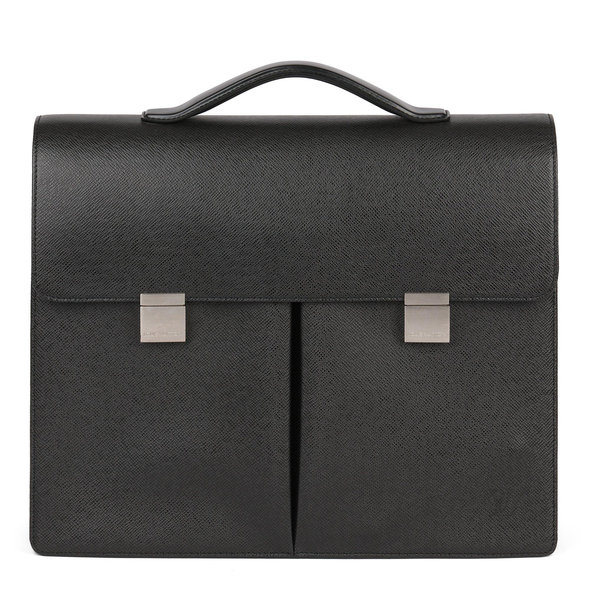 Louis Vuitton Black Taiga Leather Vintage Tobol Briefcase