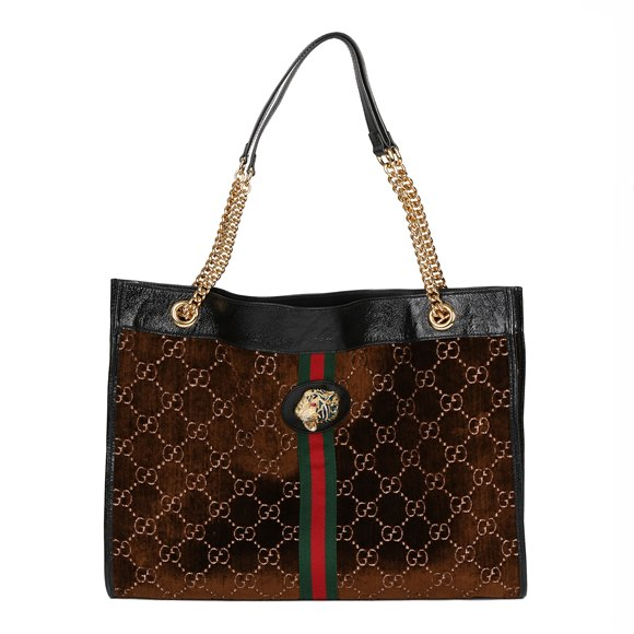 Gucci Brown GG Velvet & Black Patent Leather Large Rajah Tote Bag