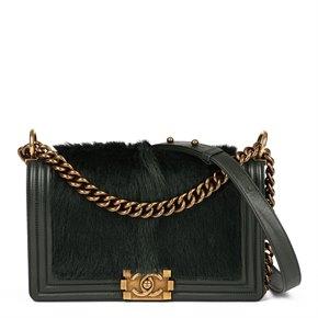 Chanel Green Lambskin Leather & Goat Fur Medium Le-Boy Bag