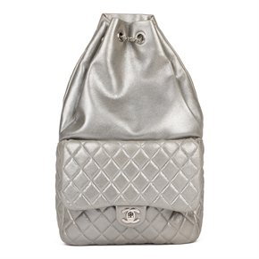 Chanel Silver Metallic Quilted Lambskin Leather Seoul Backpack