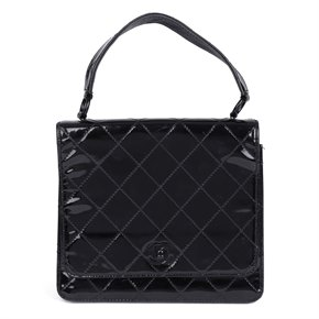 Chanel Black Quilted Patent Leather Vintage SO Black Classic Single Flap Bag