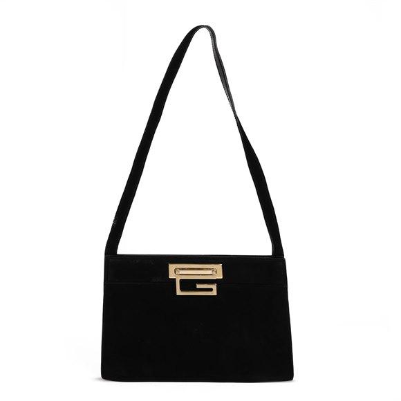 Gucci Black Suede Vintage Frame Shoulder Bag