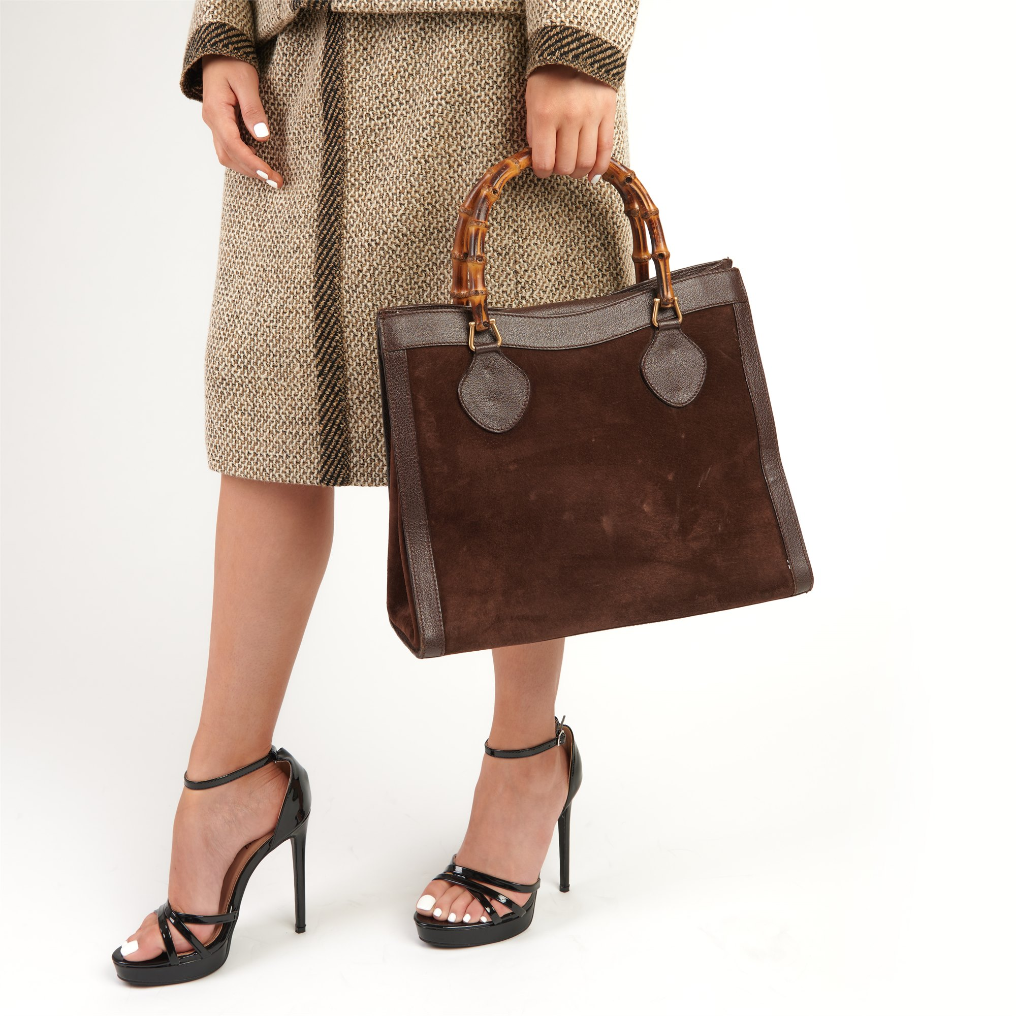 Gucci Brown Pigskin Leather & Suede Vintage Bamboo Tote