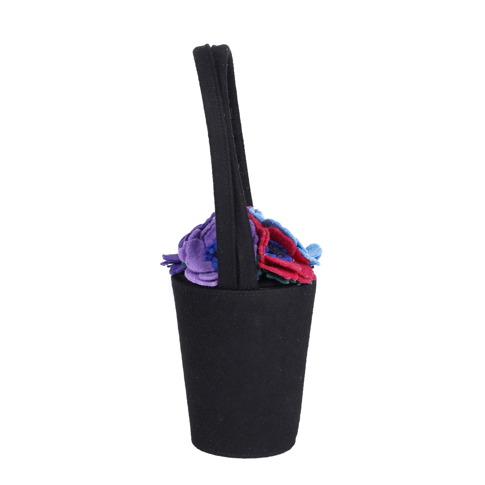 Lulu Guinness Black, Pink, Purple, Blue, Green & Red Felt Vintage Baby Florist Pot Bag