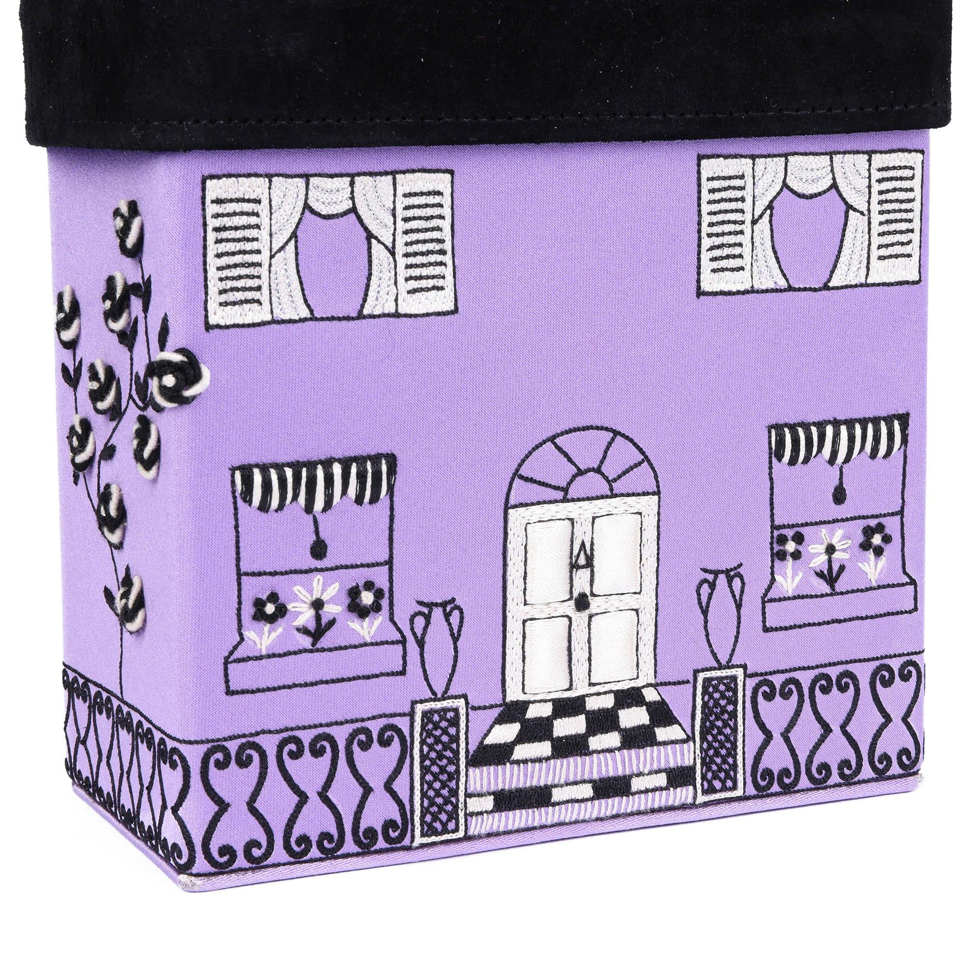 Lulu Guinness Lilac Satin & Black Suede Vintage House Box Bag
