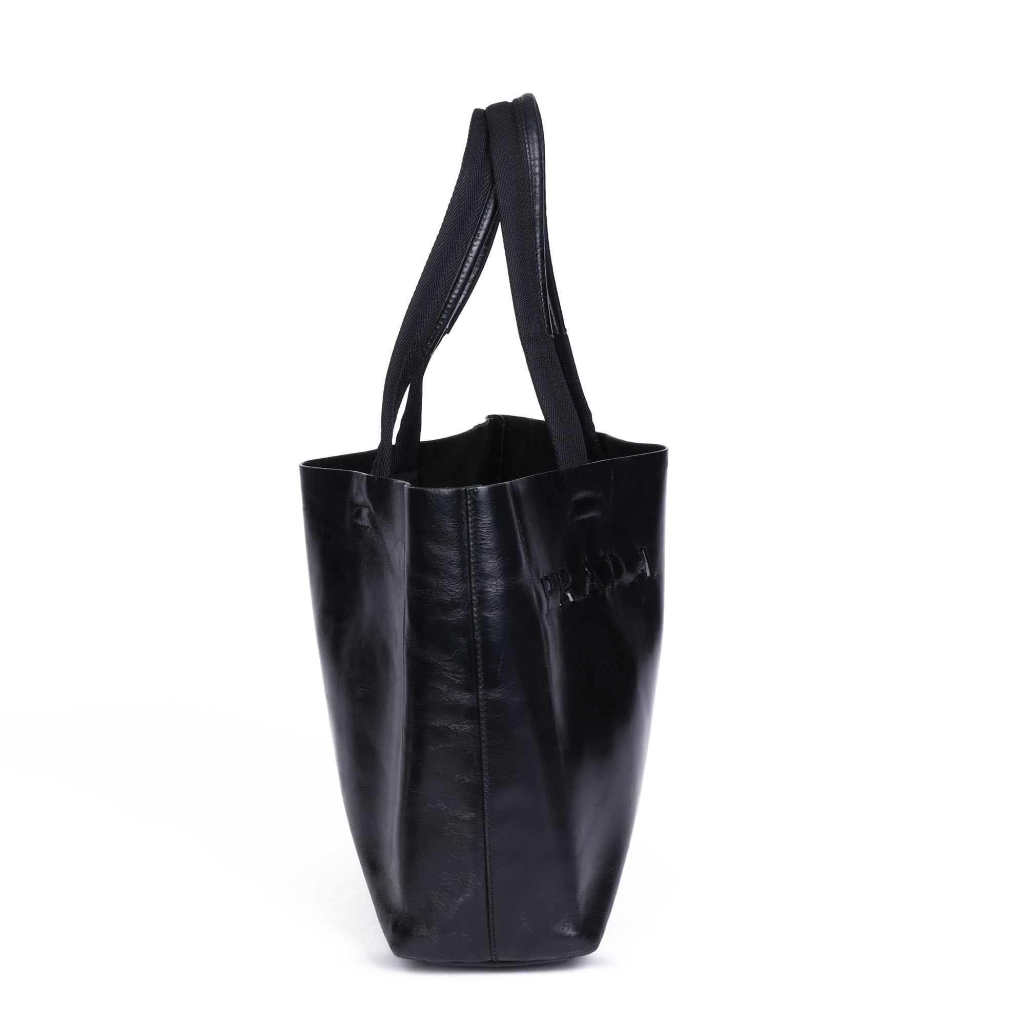 Prada Black Calfskin Leather Vintage Cut-Out Tote