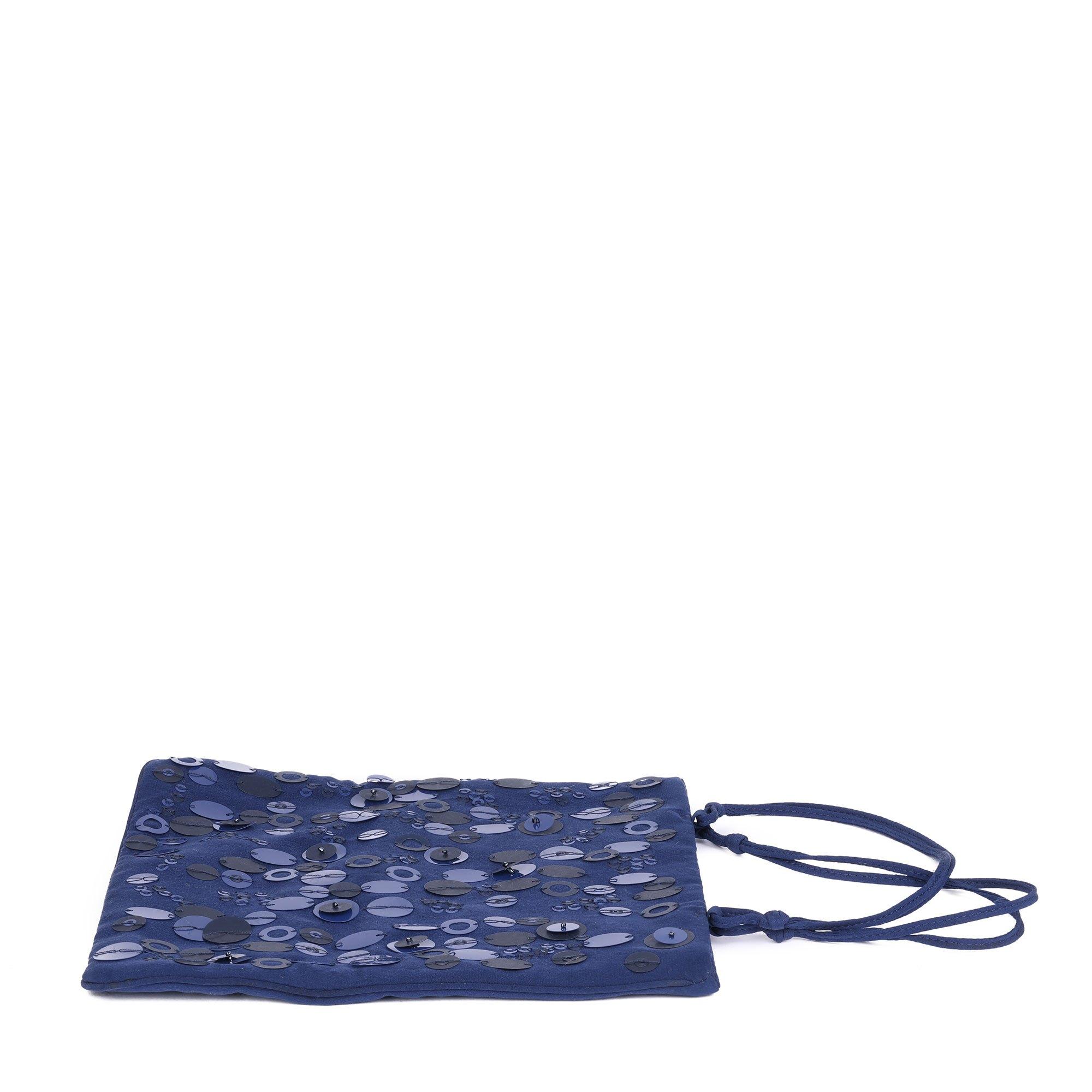 Prada Navy Embellished Fabric Vintage Evening Tote