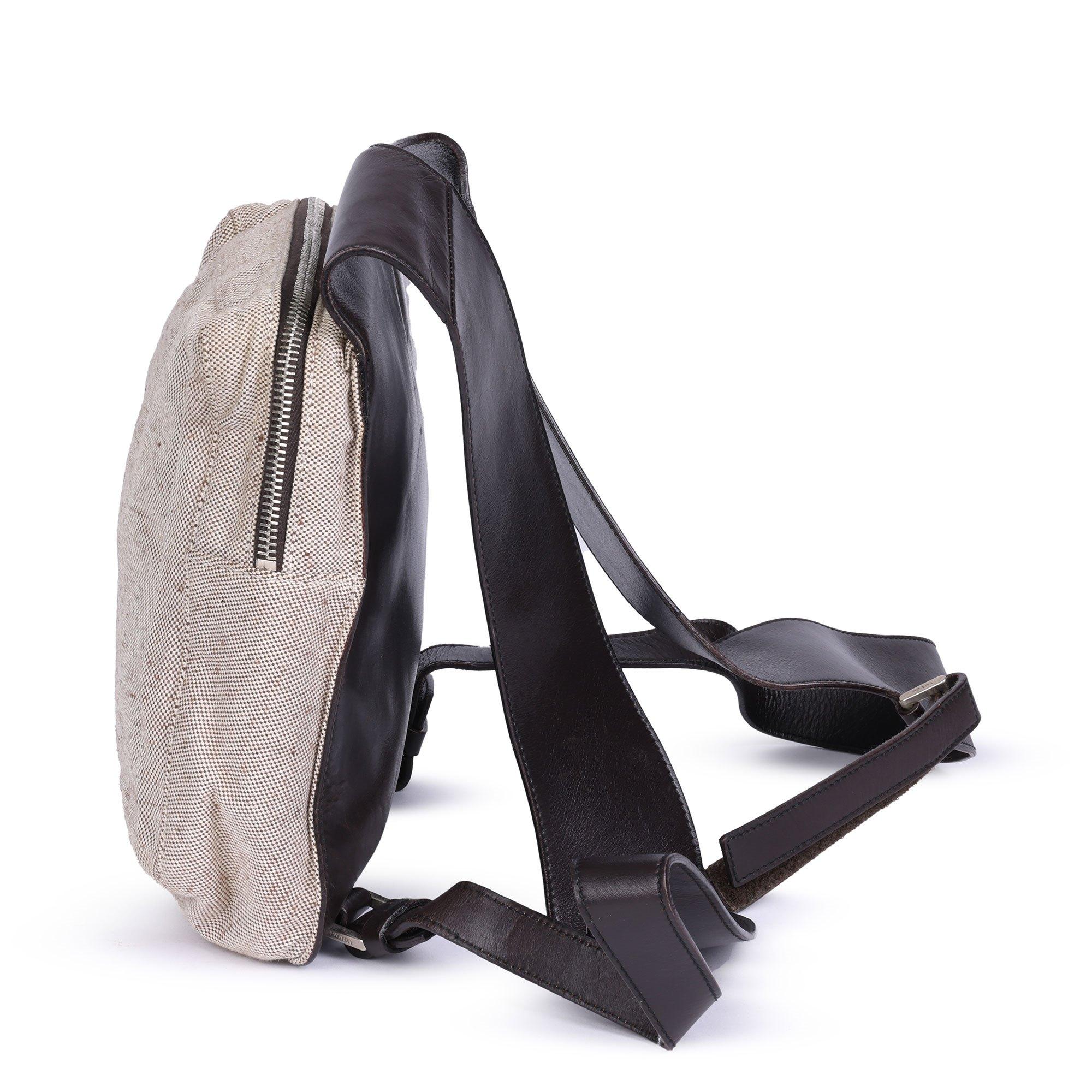 Prada Beige Canvas & Brown Leather Vintage Chest Rig Backpack