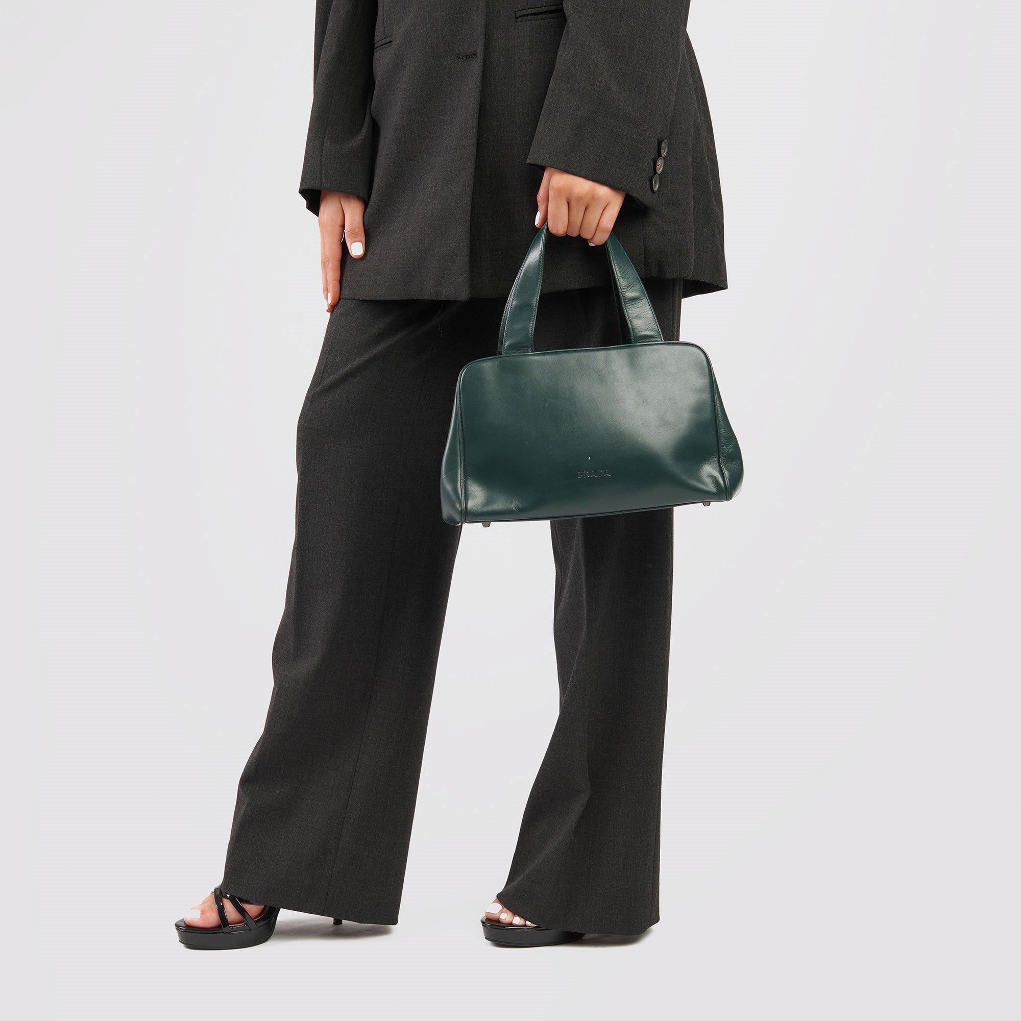 Prada Forest Green Calfskin Leather Vintage Frame Bag