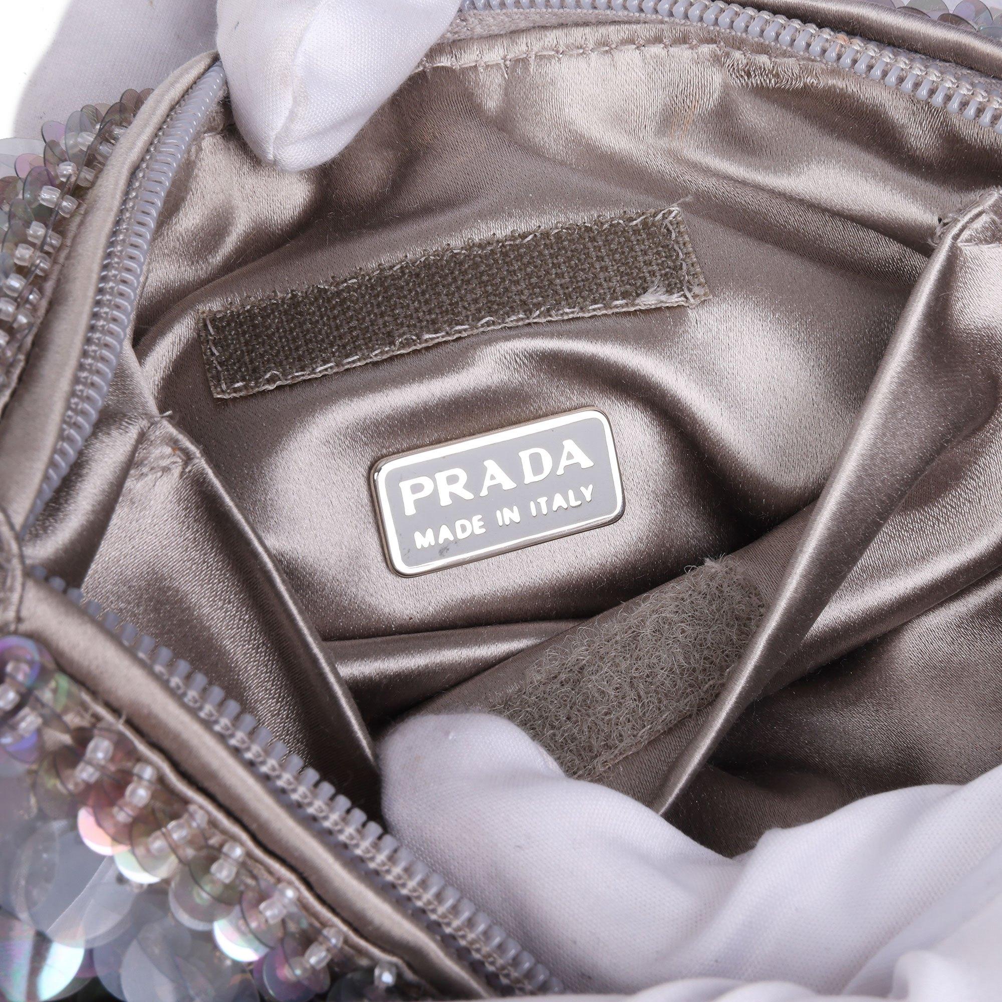 Prada Grey Embellished Satin Vintage Evening Tote