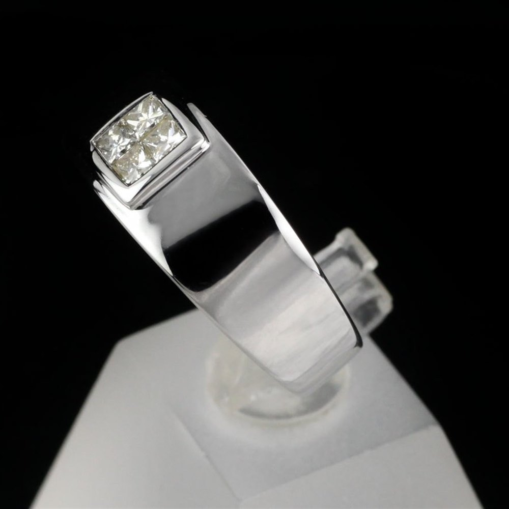 18k White Gold Men's 18k White Gold Diamond Band Ring