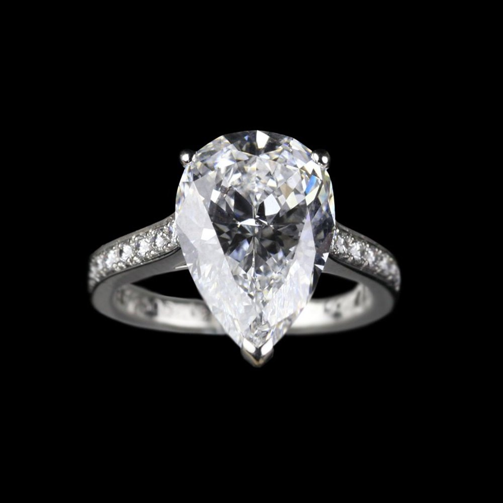 42907cf0d28ea Platinum 3.77ct Pear Cut Diamond Ring