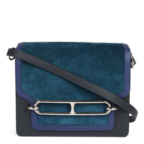 Hermès Ocean Blue Veau Doblis Suede, Navy Sombrero Leather & Blue Saphir Swift Leather Roulis 23