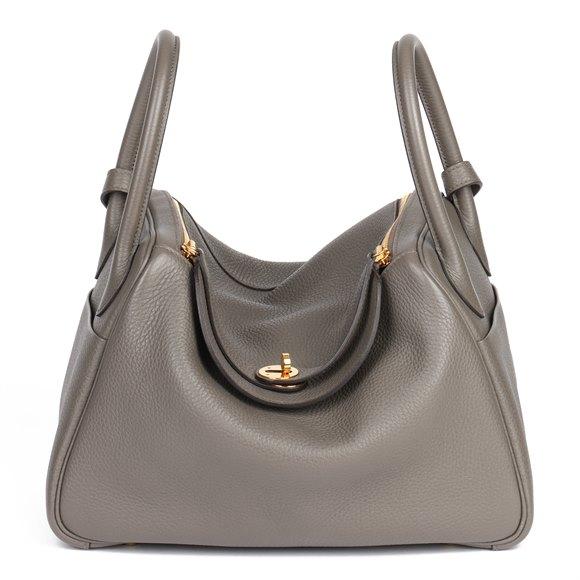 Hermès Etain Clemence Leather Lindy 30cm