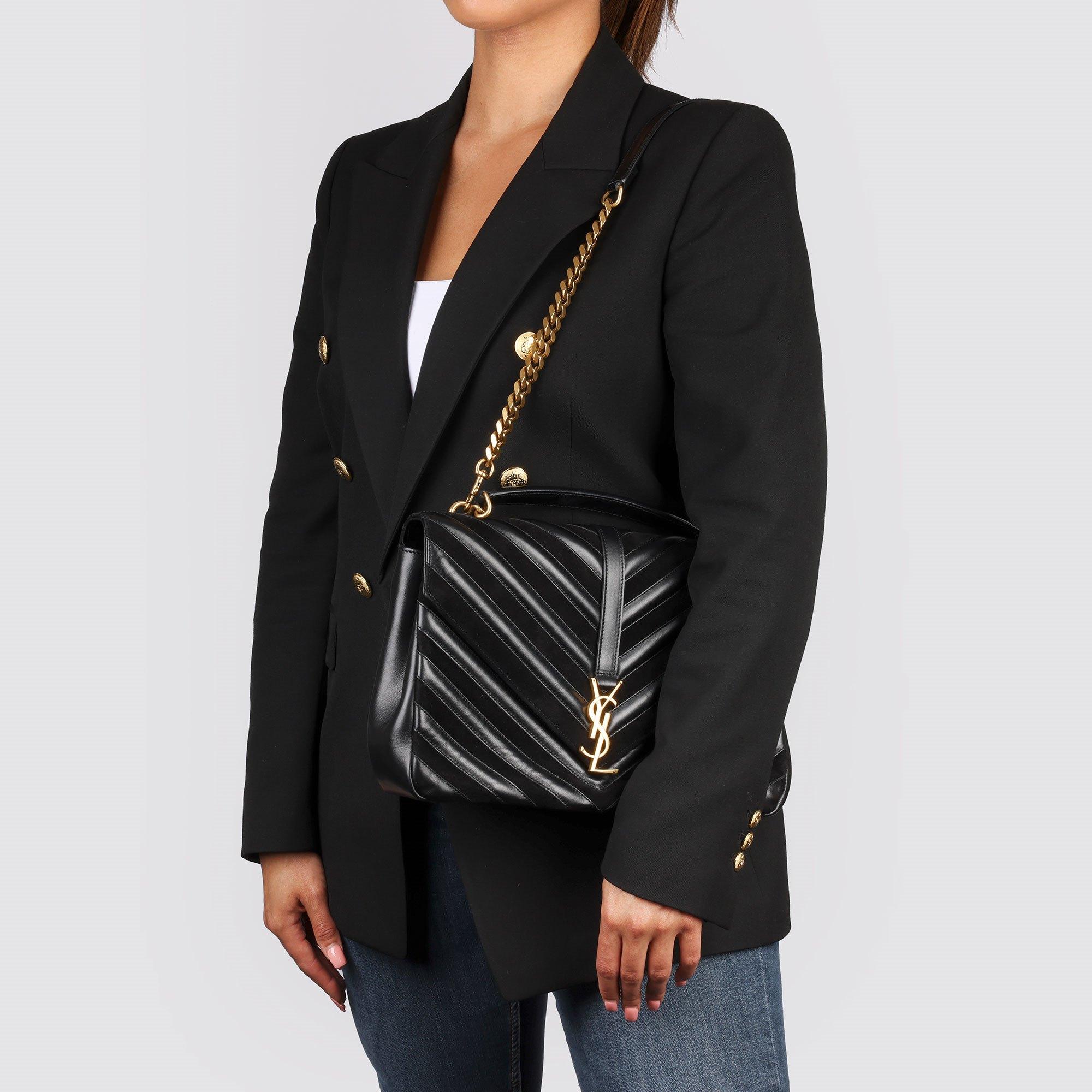 Saint Laurent Black Chevron Suede & Calfskin Leather Large College
