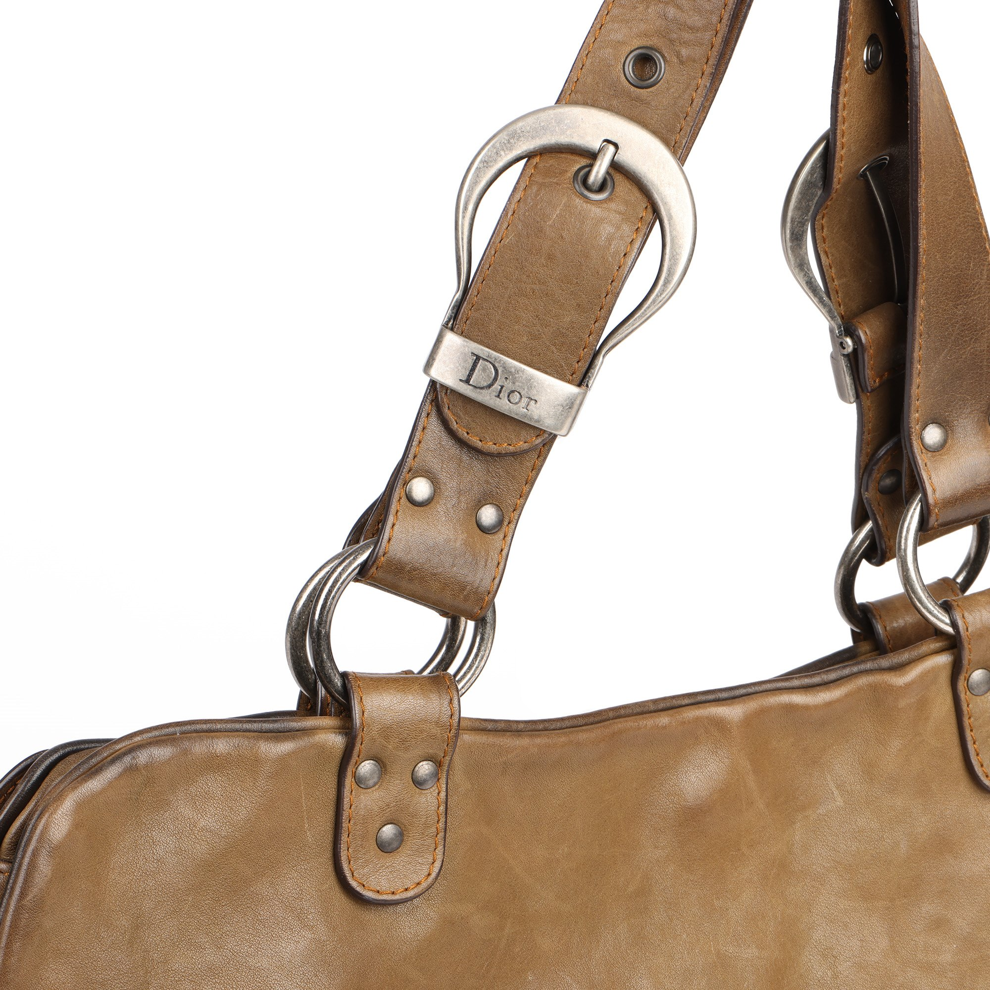 Christian Dior Brown Aged Calfskin Leather Gaucho Double Saddle Bag