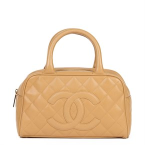 Chanel Beige Quilted Caviar Leather Mini Boston