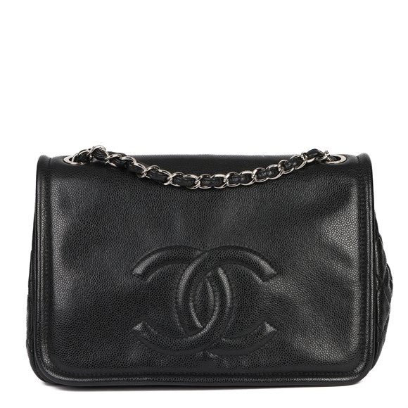 Chanel Black Quilted Caviar Leather Timeless Single Flap Bag
