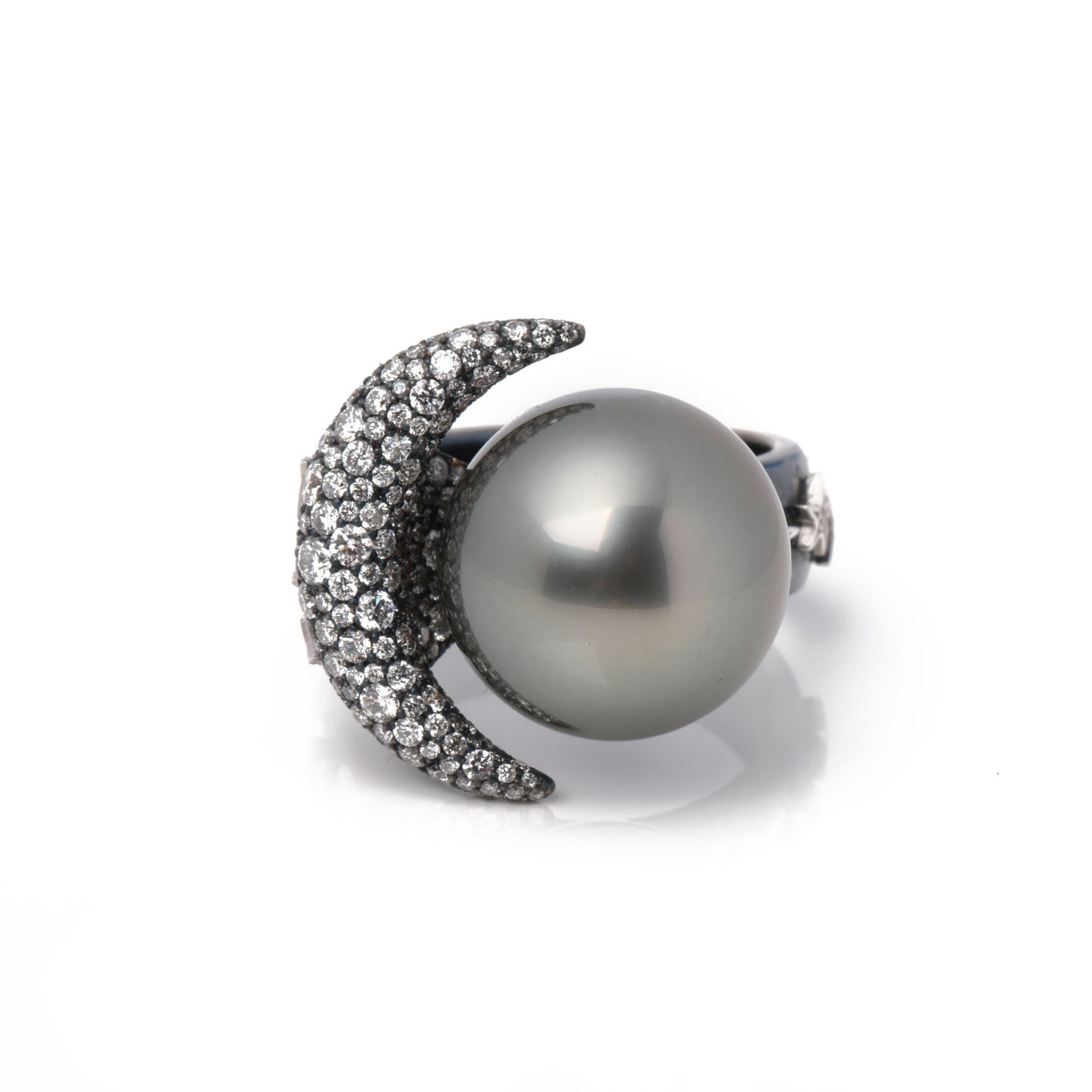 Stephanie Simon Moon and Stars Tahitian Cultured Pearl and Diamond Ring
