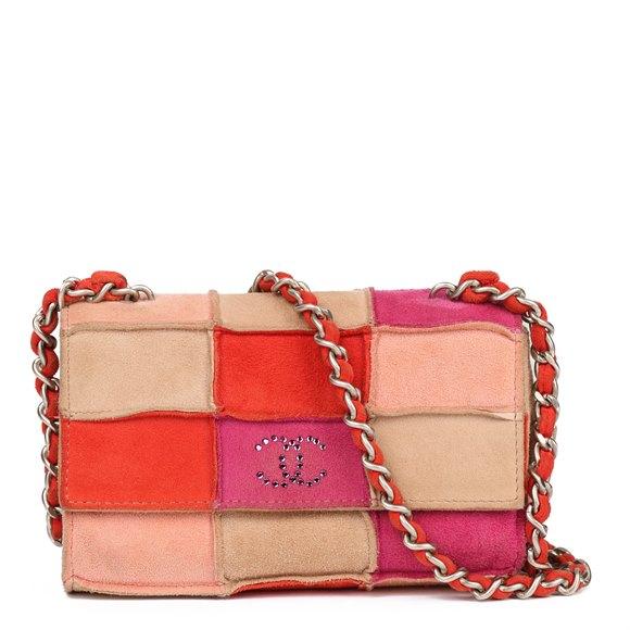 Chanel Camel, Red, Magenta & Rust Suede Rhinestone Vintage Micro Single Flap Bag