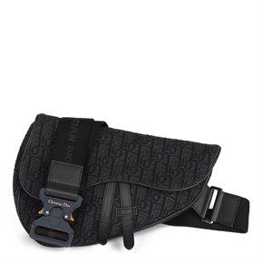 Christian Dior Black Oblique Monogram Denim Saddle Bag