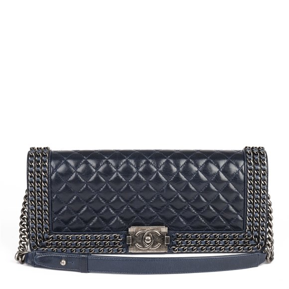 Chanel Navy Quilted Distressed Calfskin Leather Chain Around Long Le Boy Clutch-on-Chain COC