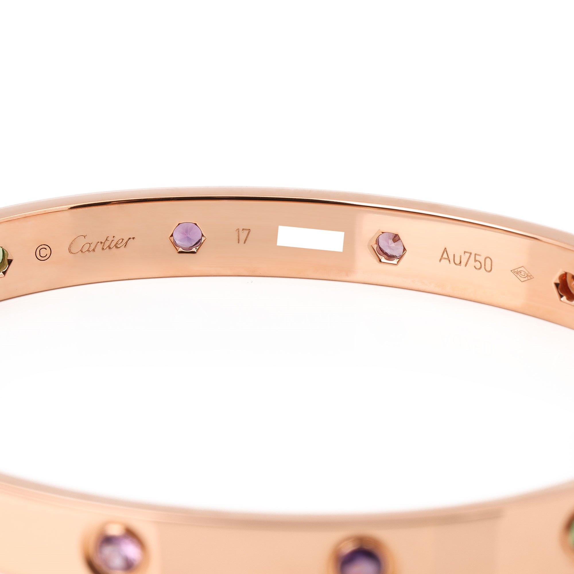 Cartier Love Bangle, Sapphires, Garnets, Amethysts