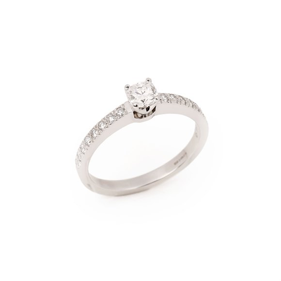 Tiffany & Co. Platinum Cushion Cut Diamond Single Stone Ring