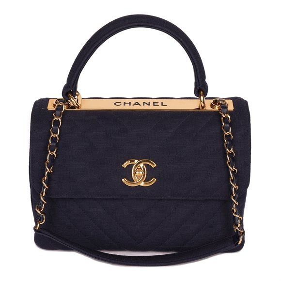 Chanel Navy Chevron Quilted Jersey Fabric Small Trendy CC Top Handle Flap Bag