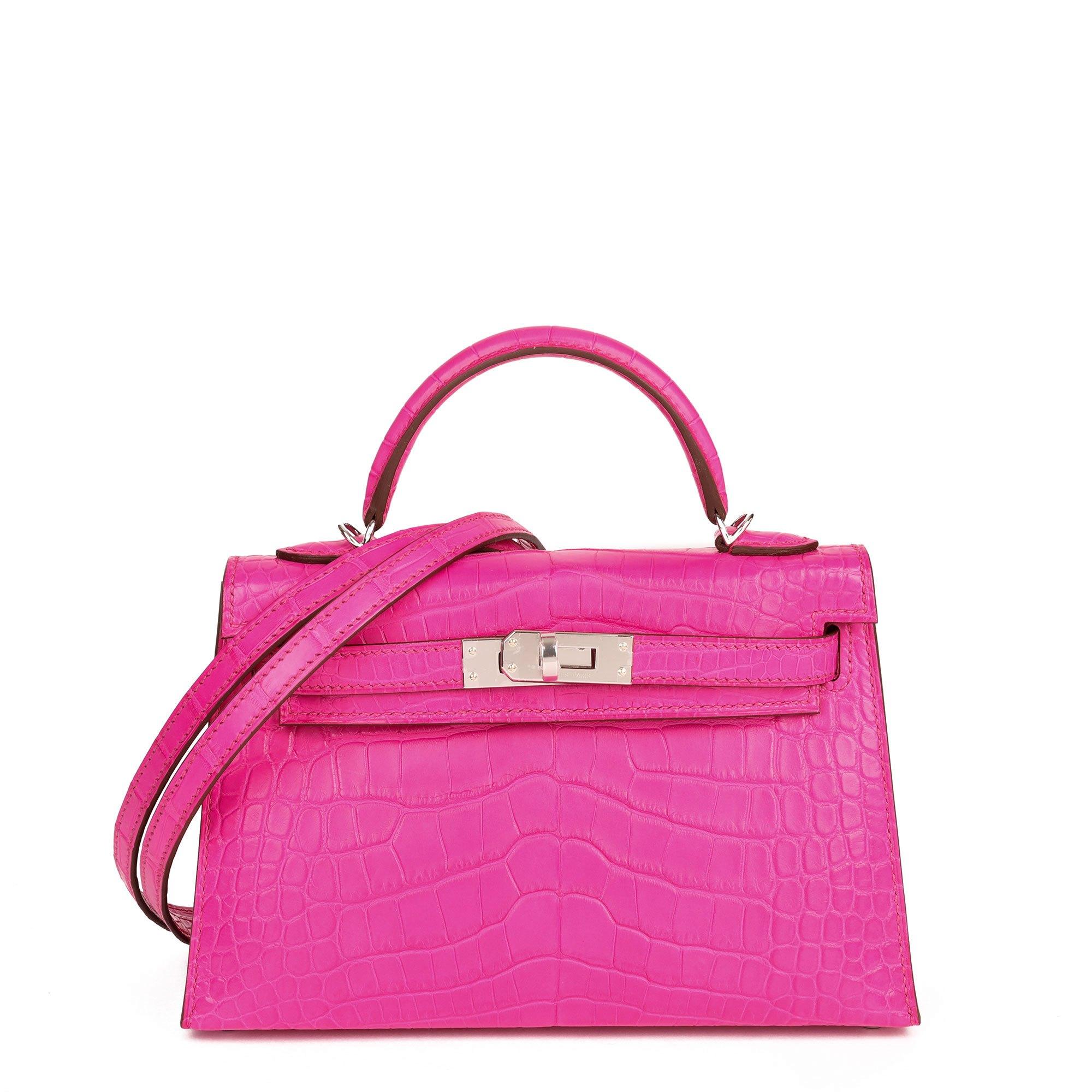 Hermès Rose Shocking Matte Alligator Leather Kelly 20cm II Sellier