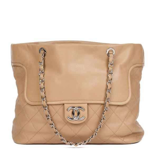 Chanel Beige Quilted & Smooth Calfskin Leather Classic Shoulder Tote
