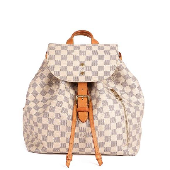 Louis Vuitton Beige Damier Azur Monogram Coated Canvas & Vachetta Leather Sperone