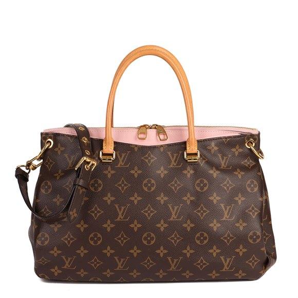 Louis Vuitton Rose Ballerine Calfskin Leather, Brown Monogram Coated Canvas & Vachetta Leather Pallas MM