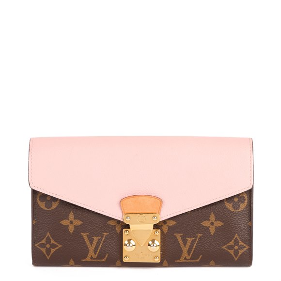 Louis Vuitton Rose Ballerine Calfskin Leather, Brown Monogram Coated Canvas & Vachetta Leather Metis Wallet