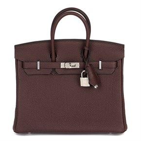 Hermès Rouge Sellier Togo Leather Birkin 25cm Retourne