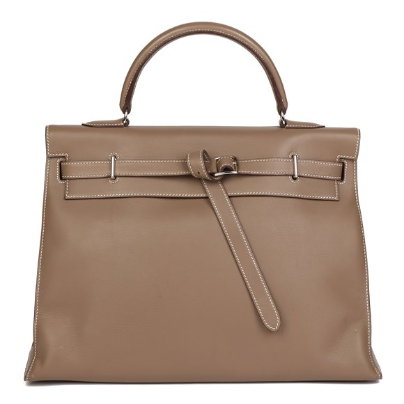 Hermès Etoupe Swift Leather Kelly Flat 35cm Sellier